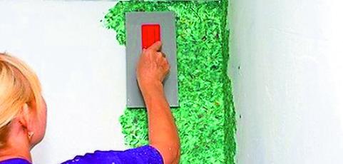 Отделка стен жидкими обоями: подготовка, приготовление, нанесение ... | 230x481
