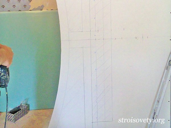 разметка арки на гипсокартоне фото