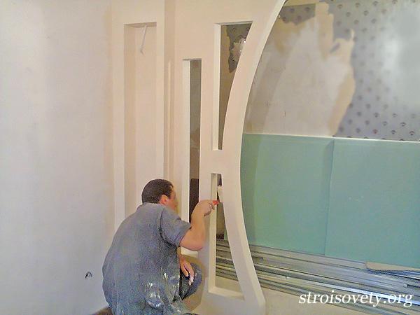 изготовление арок из гипсокартона фото