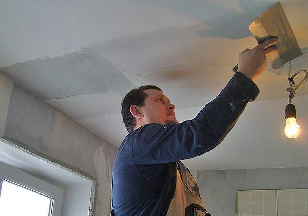 штукатурка потолка своими руками фото