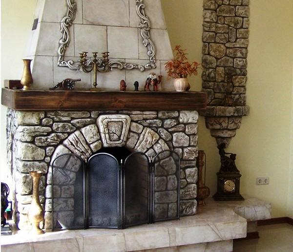 как декорировать камин из гипсокартона фото