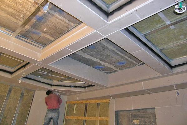 как сделать кессонный потолок из гипсокартона своими руками фото