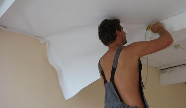 монтаж тканевых натяжных потолков фото
