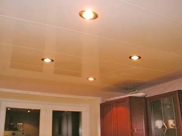 пластиковые потолки на кухне фото