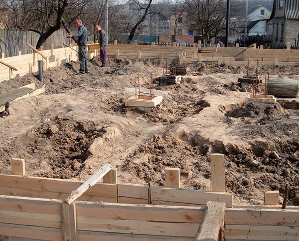 строительство фундамента для дома из клееного бруса фото