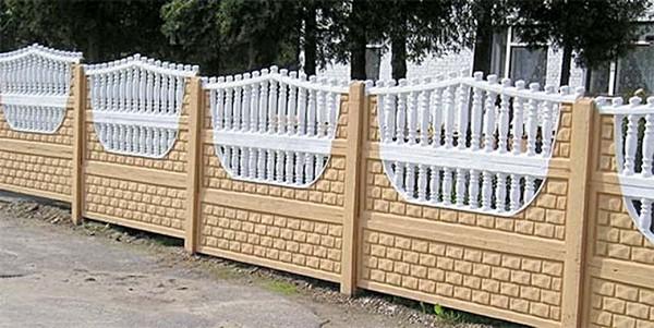 бетонный забор для частного дома фото