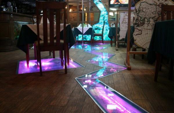 стеклянные полы с подсветкой фото