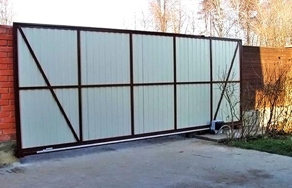 раздвижные ворота автоматические фото