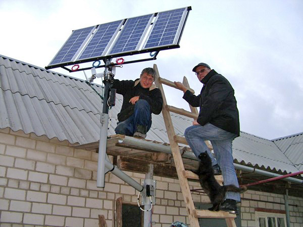 установка солнечных батарей фото