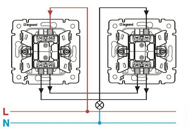 подключение проходного выключателя схема