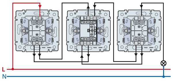 установка проходного выключателя схема