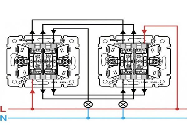 подключение двухклавишного проходного выключателя