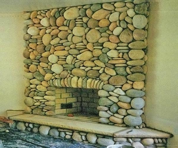 отделка камина природным камнем фото
