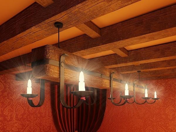 деревянные балки на потолке фото