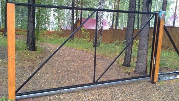 как сделать каркас распашных ворот фото