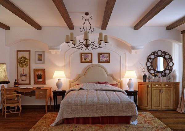 кантри потолок в спальне фото