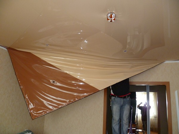 ремонт натяжного потолка фото