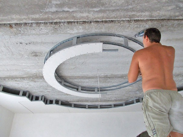 как делать круглый короб из гипсокартона фото