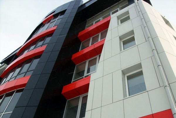 навесной фасад из композитных панелей фото