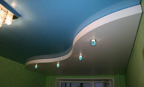 комбинированный потолок гипсокартон и натяжной фото