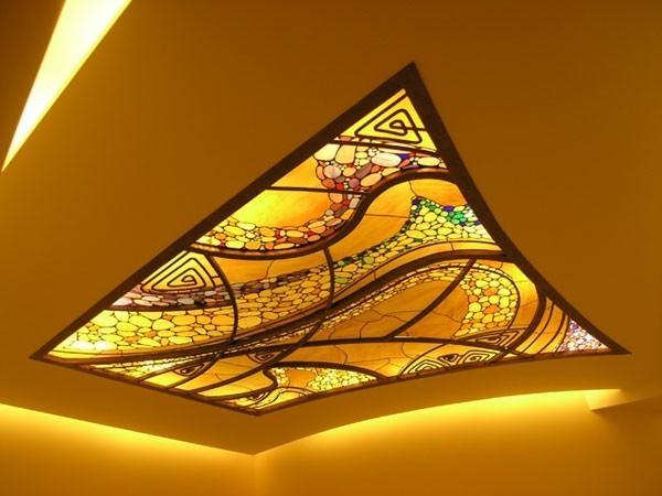 комбинированный потолок с подсветкой фото