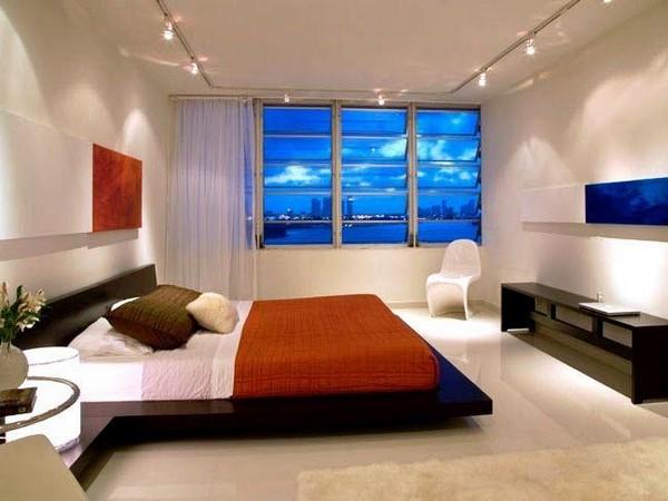 освещение в спальне точечные светильники фото