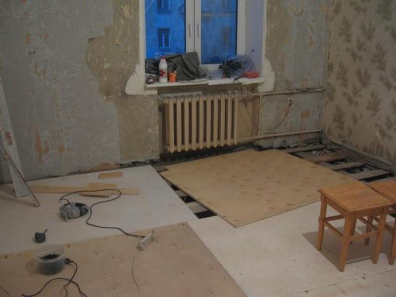 пол из фанеры как сделать в квартире фото