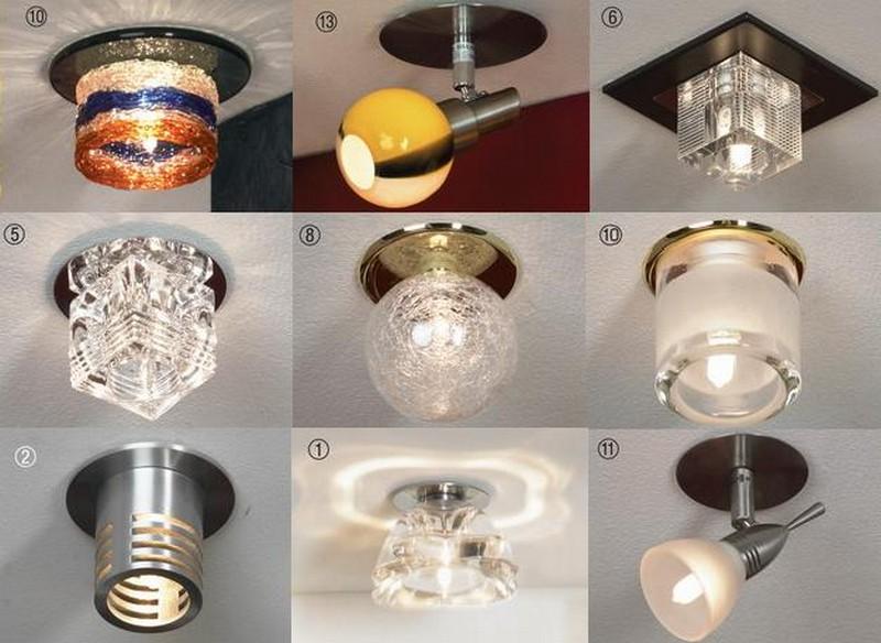 точечные светильники для гипсокартонных потолков фото