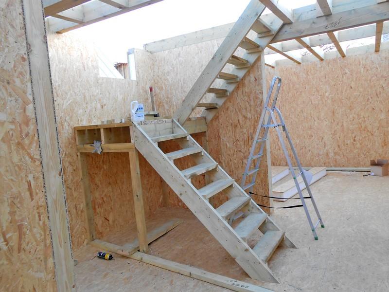 двухмаршевая лестница с площадкой своими руками фото