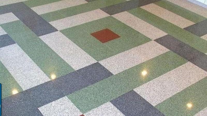 Бетонно-мозаичные полы: их особенности и принцип изготовления