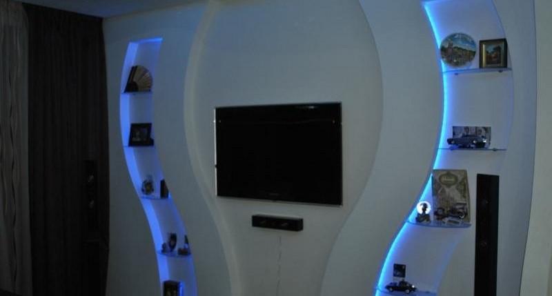 ниша под телевизор с подсветкой фото