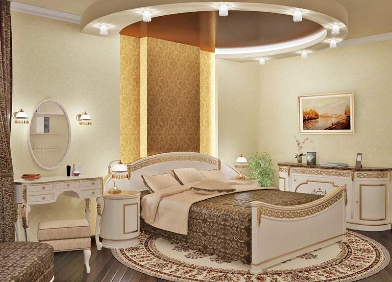 красивые потолки в спальне фото