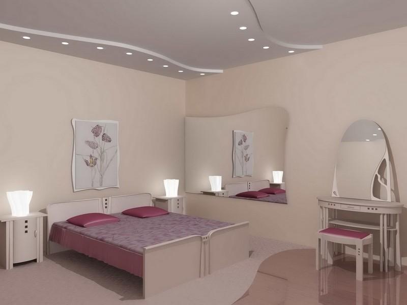 потолок из гипсокартона в спальне фото
