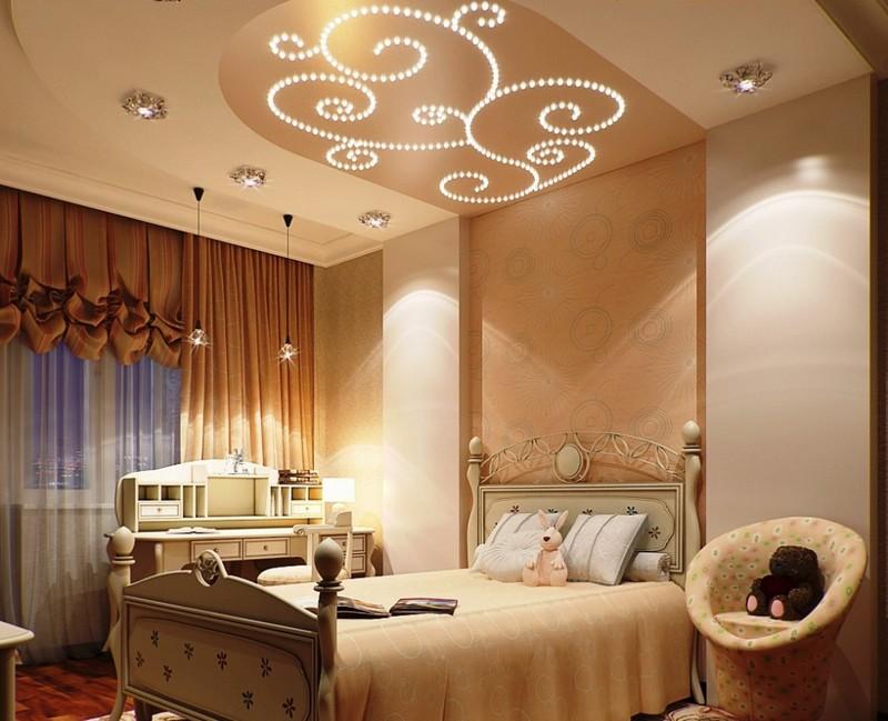 потолок в спальне фото