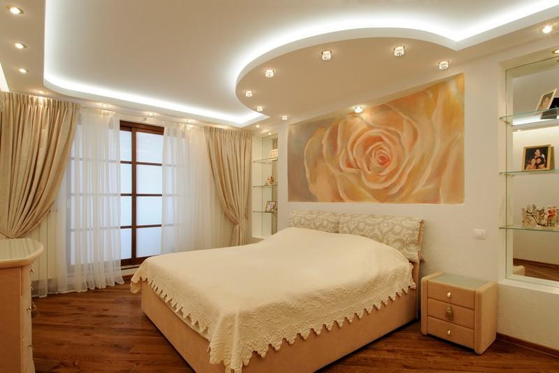 потолок в спальне из гипсокартона фото