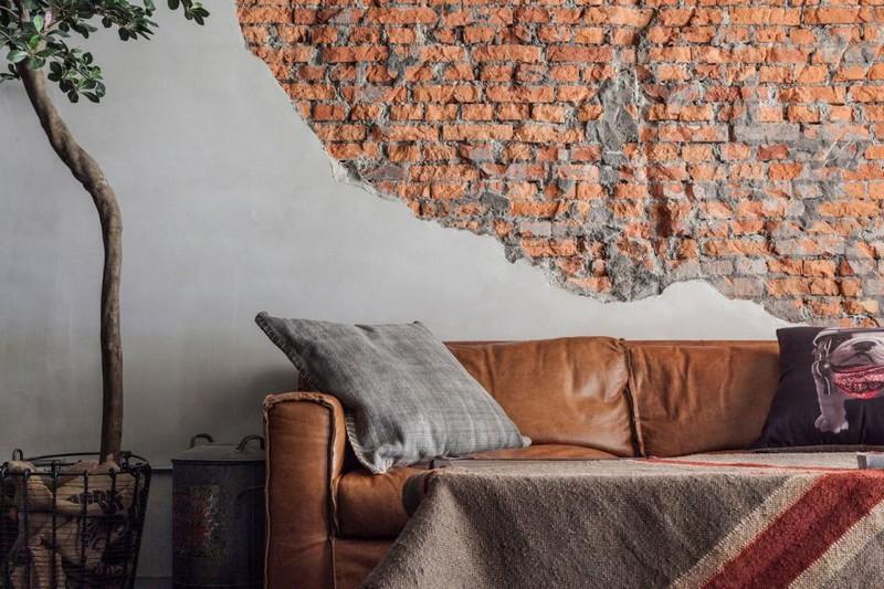 кирпичная стена в интерьере фото