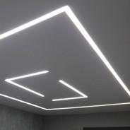 световой натяжной потолок в интерьере