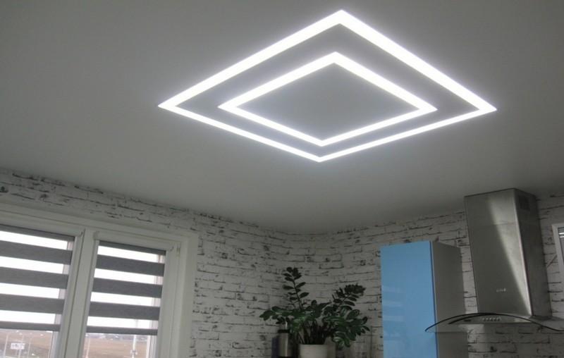 световые линии на кухонном потолке фото