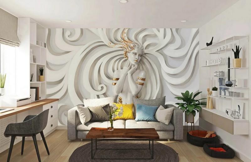 как оформить стены в гостиной фото