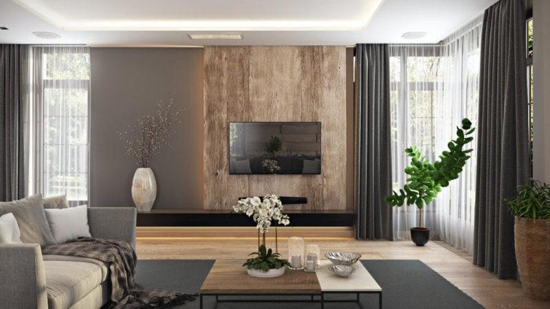 варианты оформления стен в гостиной