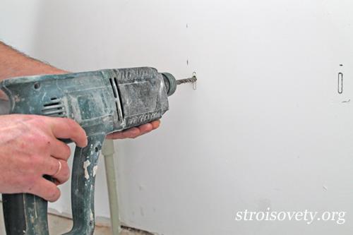 бурение отверстий в стене для установки кронштейнов