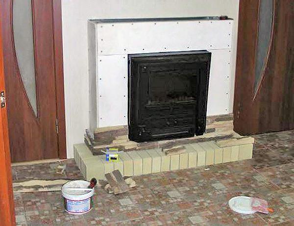 как сделать камин в доме из гипсокартона