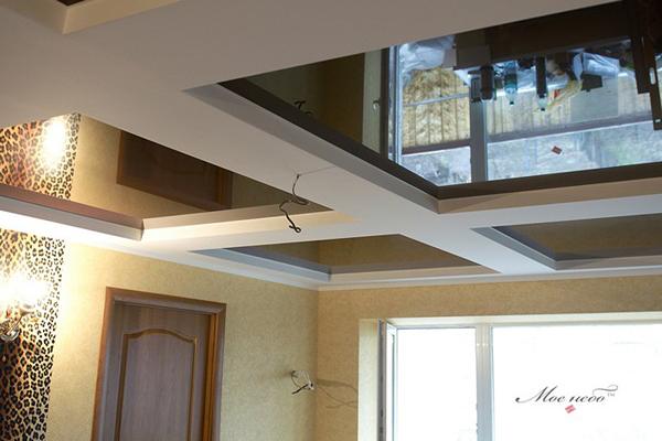 кессонный потолок из гипсокартона и натяжного полотна фото