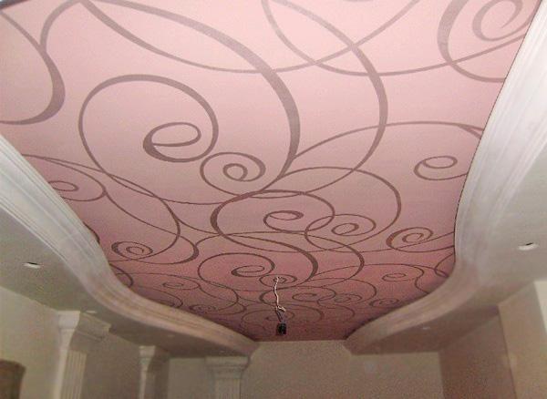 тканевый потолок с рисунком фото