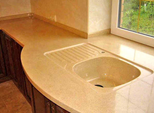 Столешница кухонная из акрилового камня своими руками металлизированная столешница