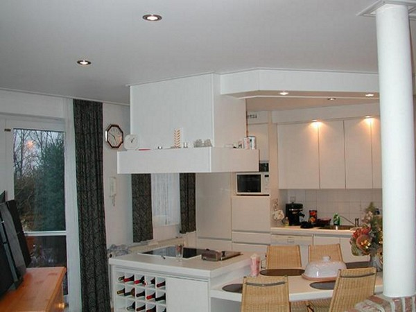 потолки из гипсокартона на кухне фото