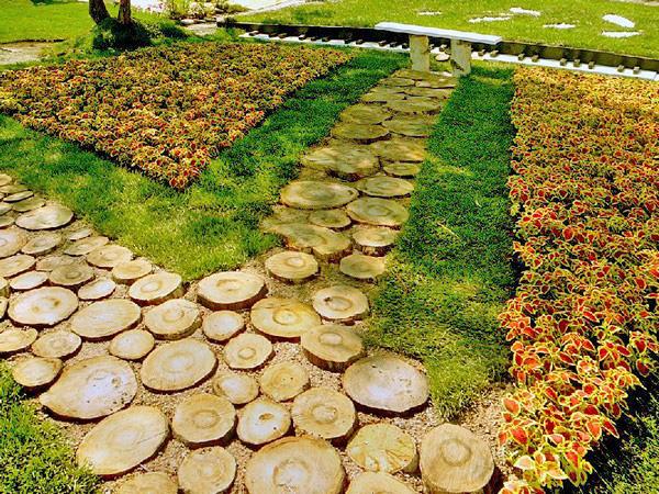устройство садовых дорожек из спилов дерева