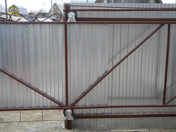 самодельные раздвижные ворота фото