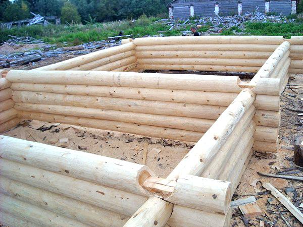 строительство дома из бревна фото