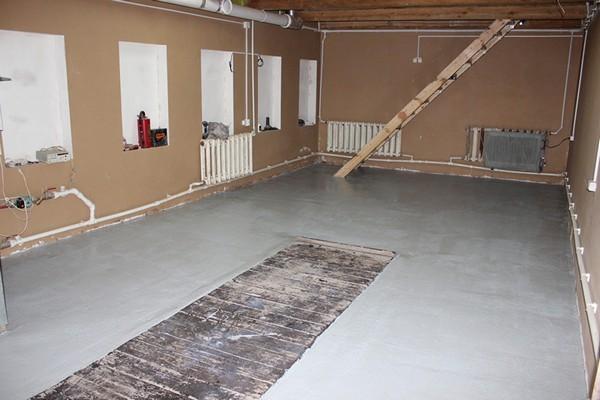 бетонный пол в гараже фото